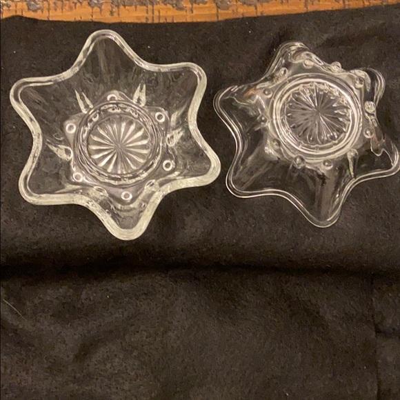 Vtg 6 Point Star/Flower Clear Glass Candle Holder